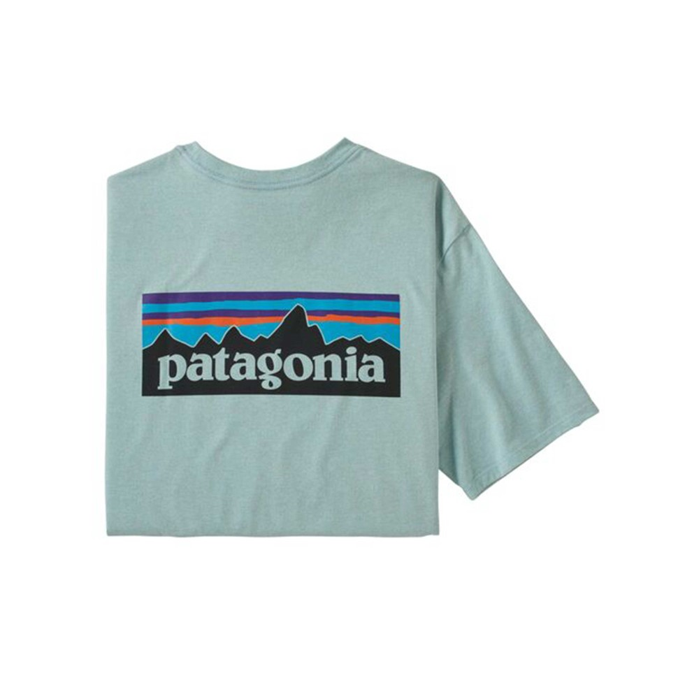 Patagonia P-6 Logo Pocket Responsibili-Tee Mens Big Sky Blue
