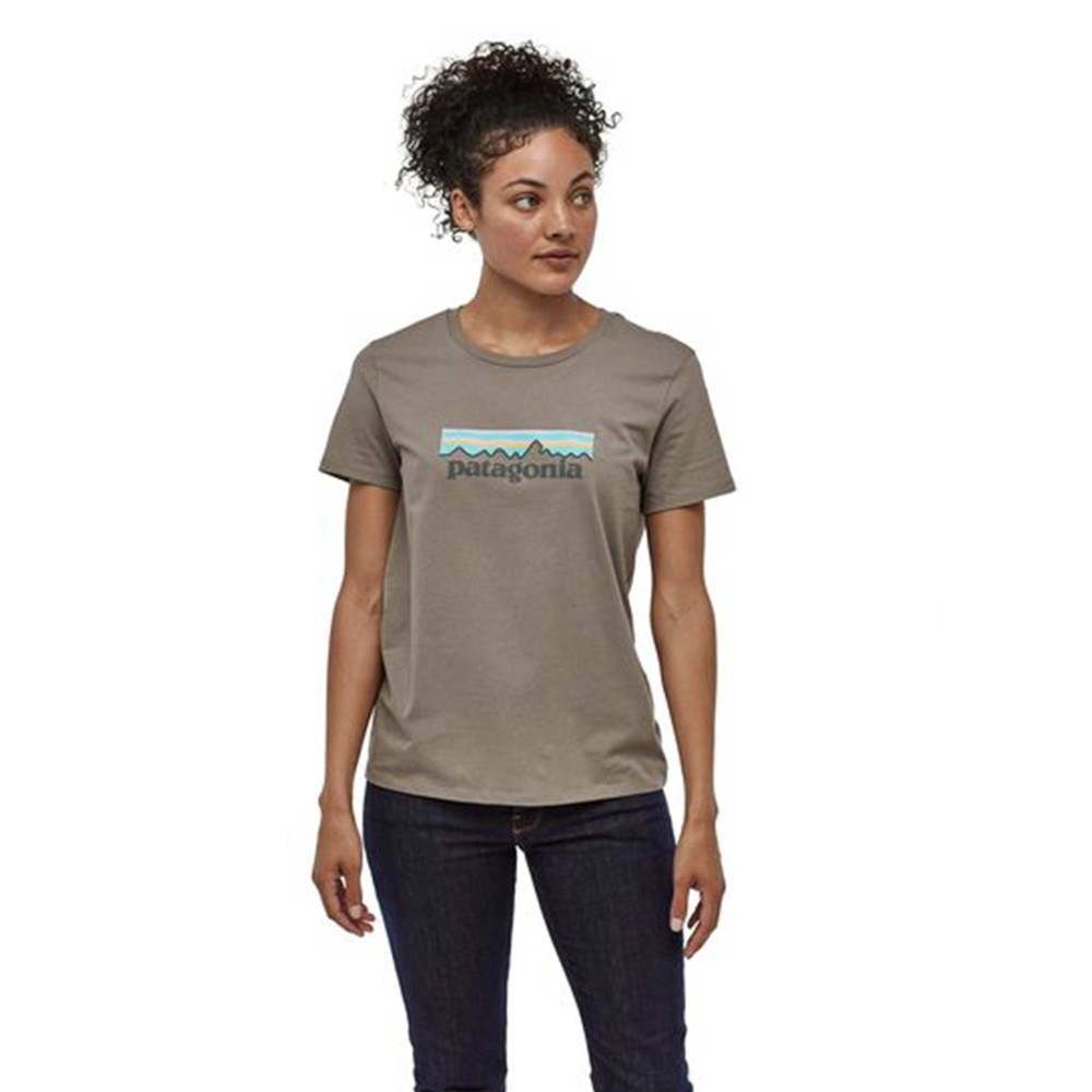 Patagonia Pastel P-6 Logo Organic Crew T-Shirt Womens Feather Grey