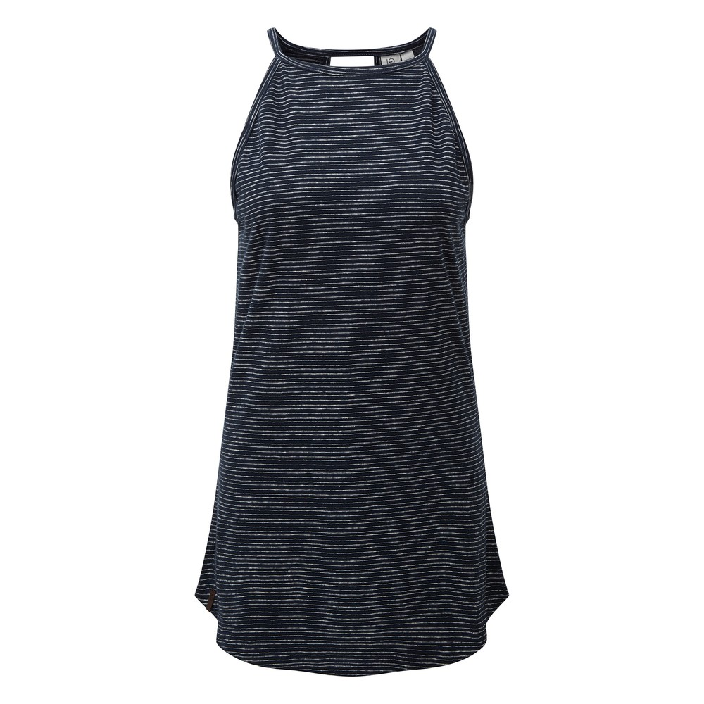 tentree Icefall Tank Womens Dark Ocean Blue/ Elm White Stripe