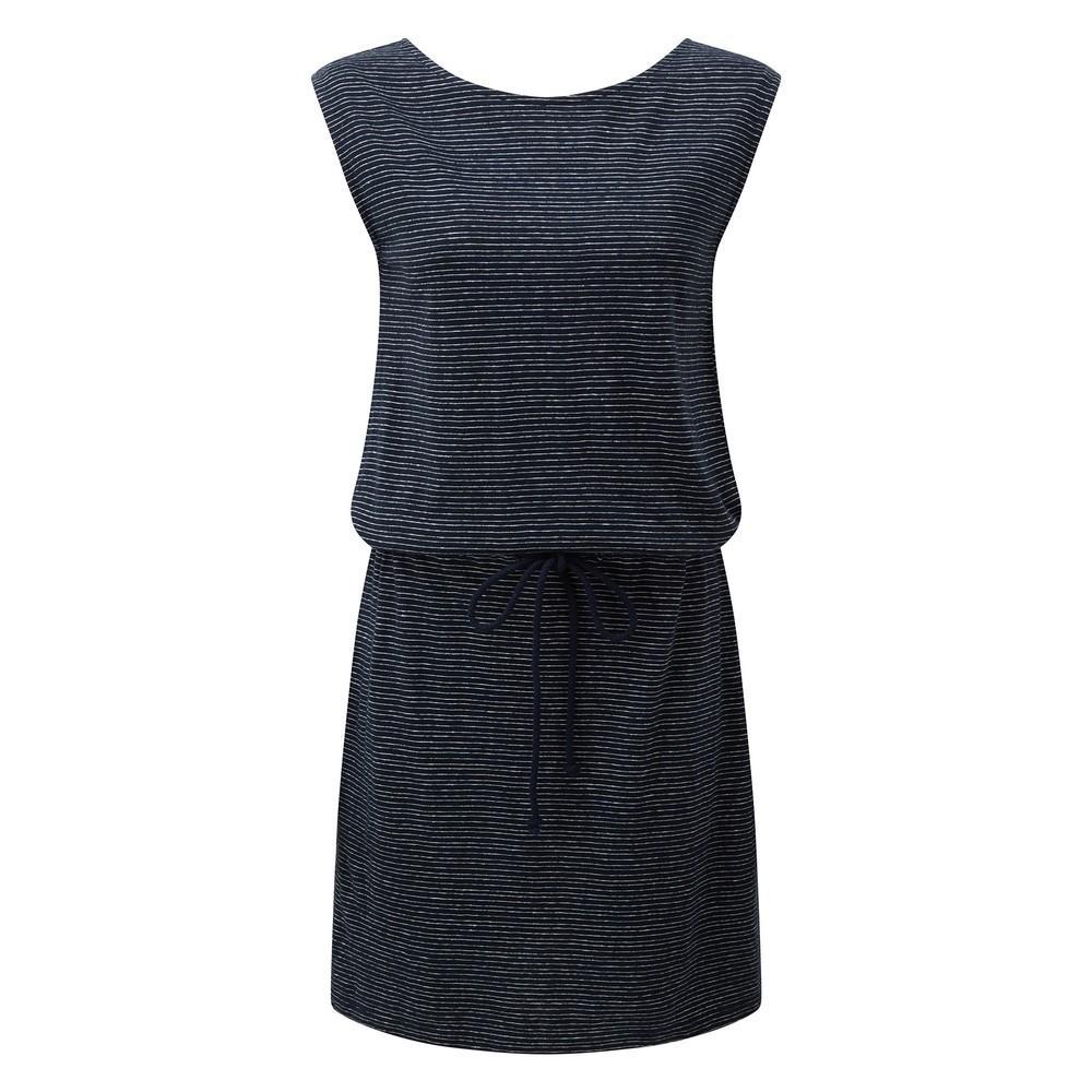 tentree Icefall Dress Womens Dark Ocean Blue/ Elm White Stripe