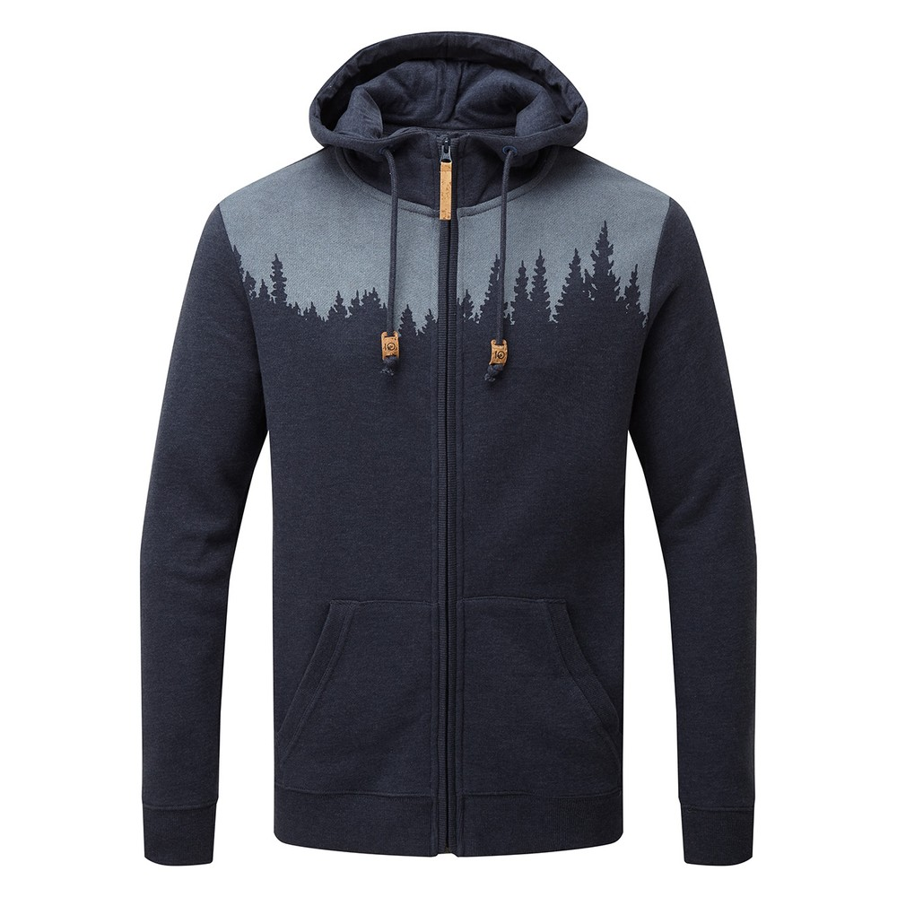 tentree Juniper Zip Hoodie Mens Dark Ocean Blue Heather