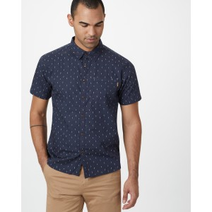 tentree Cotton Short Sleeve Button Up Mens in Dark Ocean Blue - Small Tree AOP