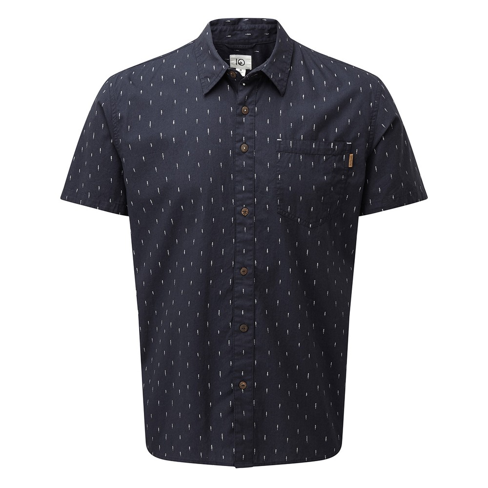tentree Cotton Short Sleeve Button Up Mens Dark Ocean Blue - Small Tree AOP