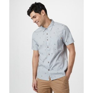 tentree Cotton Short Sleeve Button Up Mens in Hi Rise Grey - Planting AOP