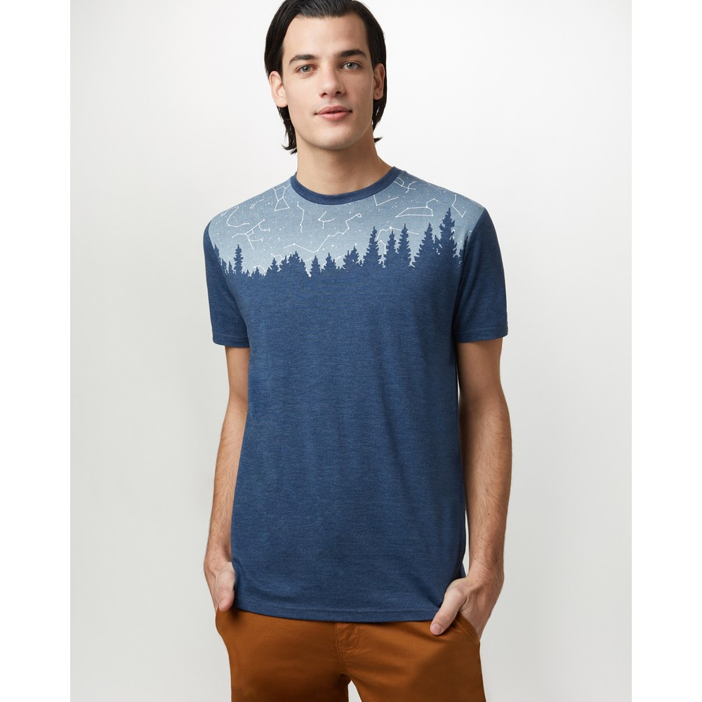 tentree Constellation Classic T-Shirt Mens Dark Ocean Blue Heather