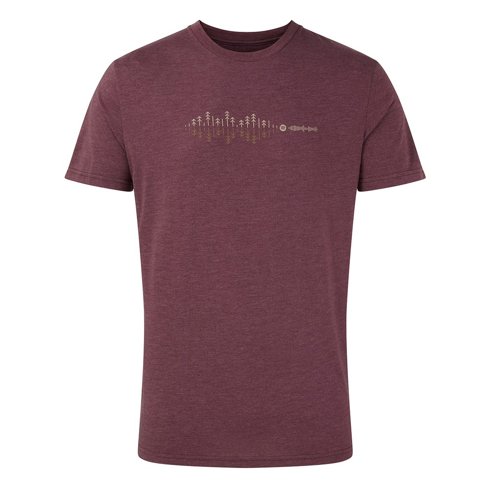 tentree Sound Wave Classic T-Shirt Mens Merlot Red Heather