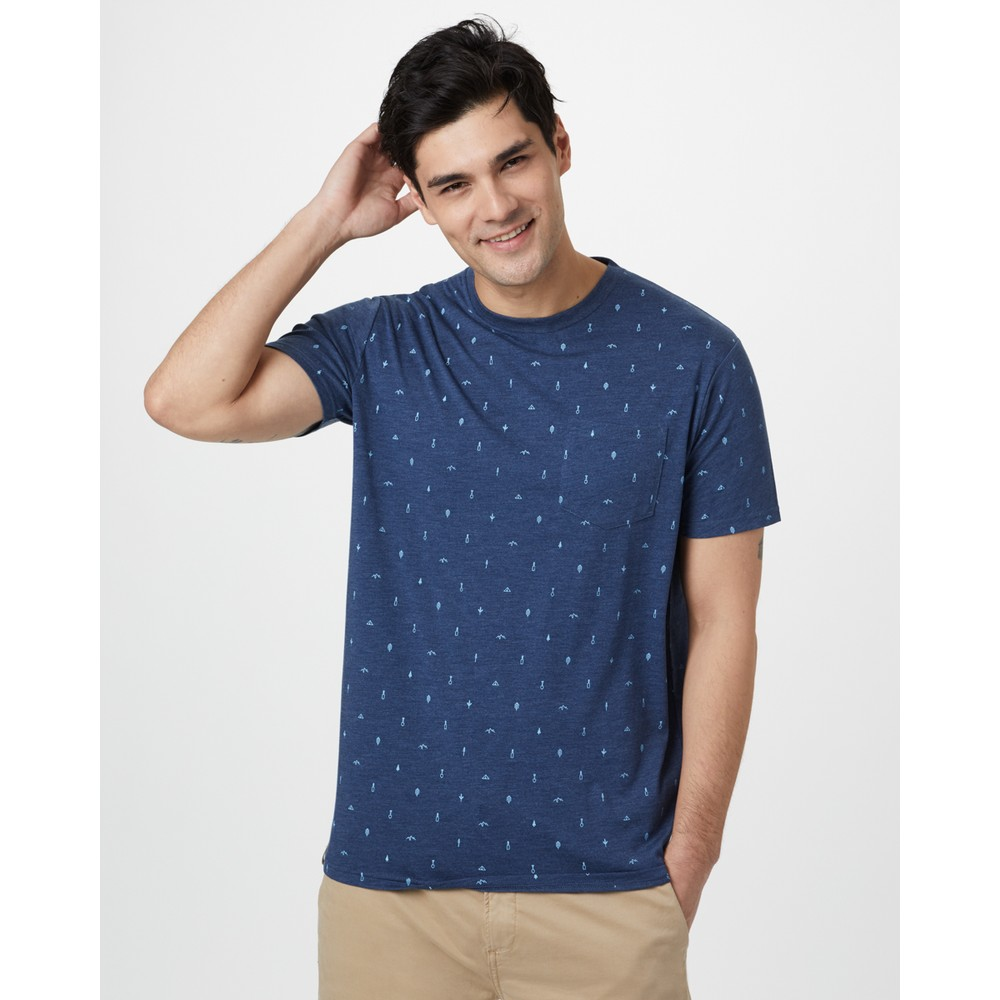 tentree Tree Print Classic T-Shirt Mens Dark Ocean Blue - Planting AOP