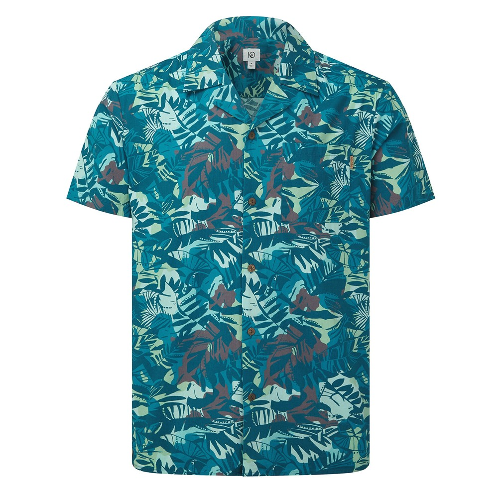 tentree Quartz Short Sleeve Button Up Mens Star Gaze Blue - Wild AOP