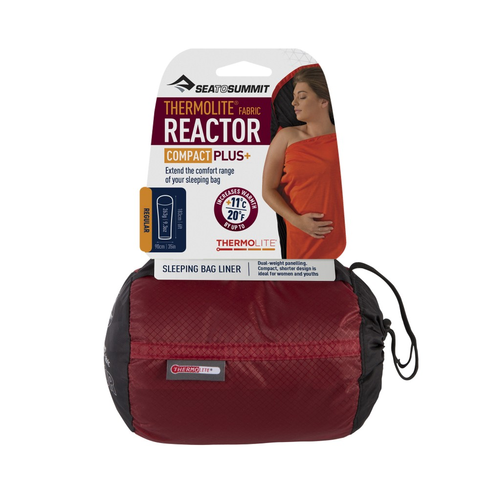 Sea To Summit Reactor Plus Compact Thermolite Mummy Liner Red Sack/Black and Red Liner