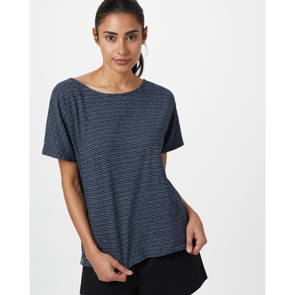 tentree Icefall T-Shirt Womens Dark Ocean Blue/ Elm White Stripe
