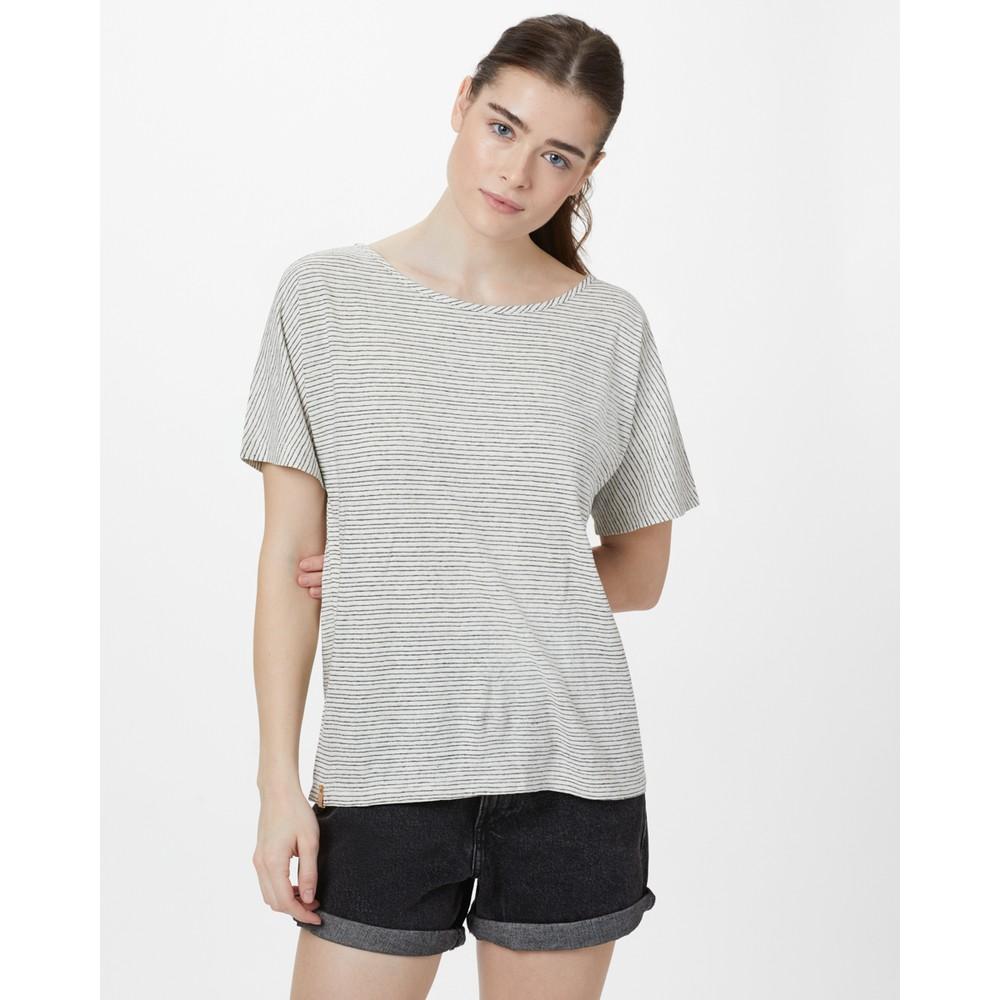 tentree Icefall T-Shirt Womens Elm White/Meteorite Black Stripe