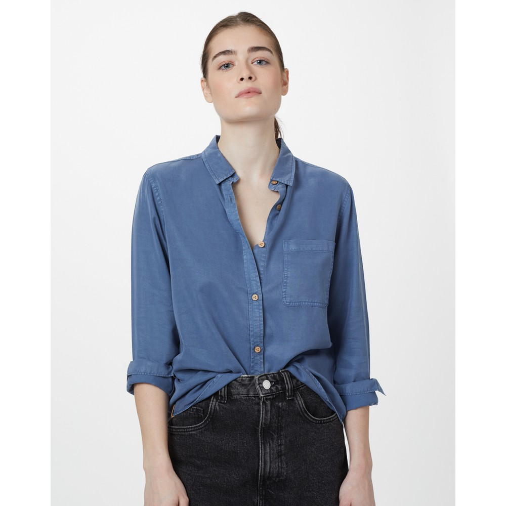 tentree Fernie Button Up Womens Spruce Blue