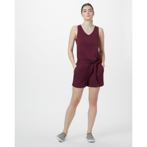 tentree Langford Jumpsuit Womens in Merlot Red