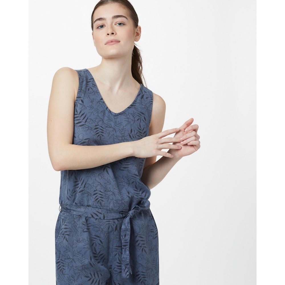 tentree Langford Jumpsuit Womens Spruce Blue - Floral AOP
