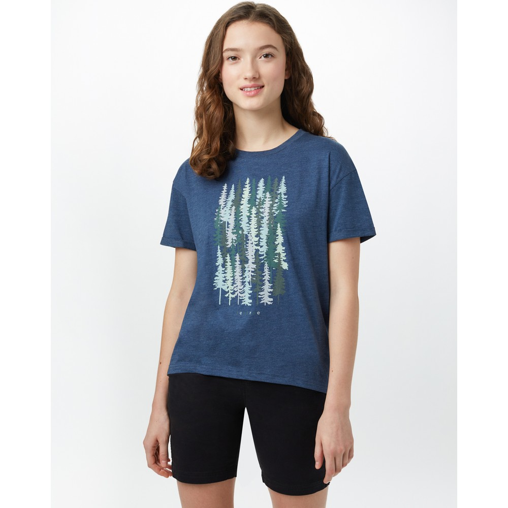 tentree Spruced Up Relaxed T-Shirt Womens Dark Ocean Blue Heather