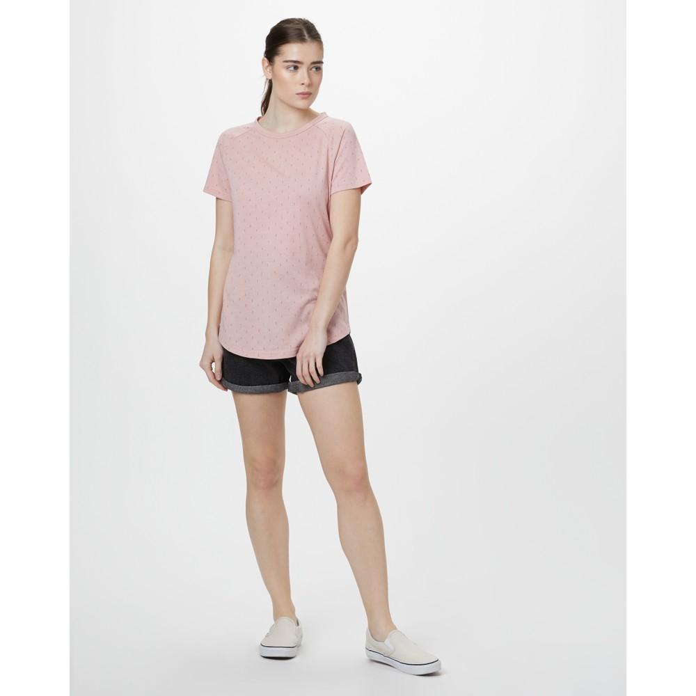 tentree Tree Print Raglan T-Shirt Womens Quartz Pink Heather - Small Tree AOP