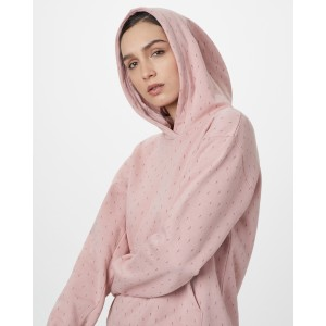 tentree Northwoods BF Hoodie Womens in Quartz Pink - Small Tree AOP