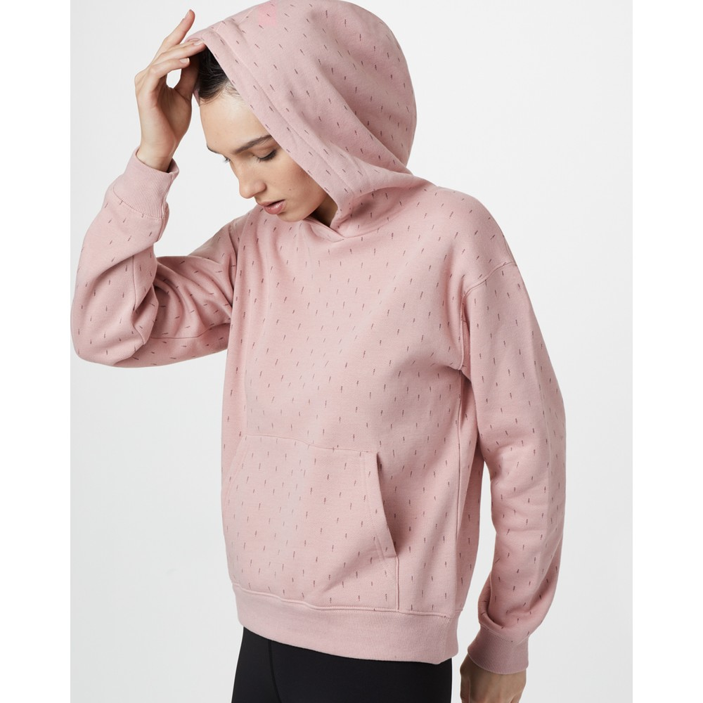 tentree Northwoods BF Hoodie Womens Quartz Pink - Small Tree AOP