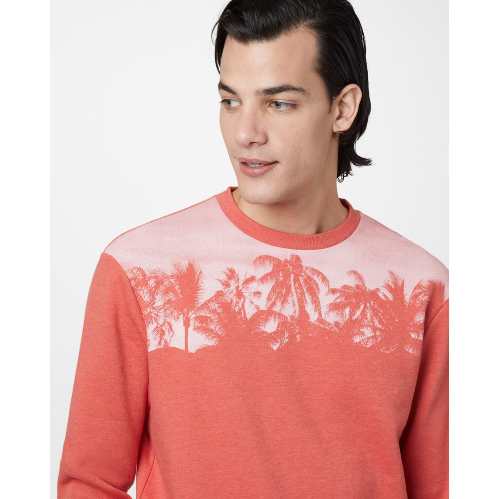tentree Palm Classic Crew Mens Burnt Sienna Orange Heather