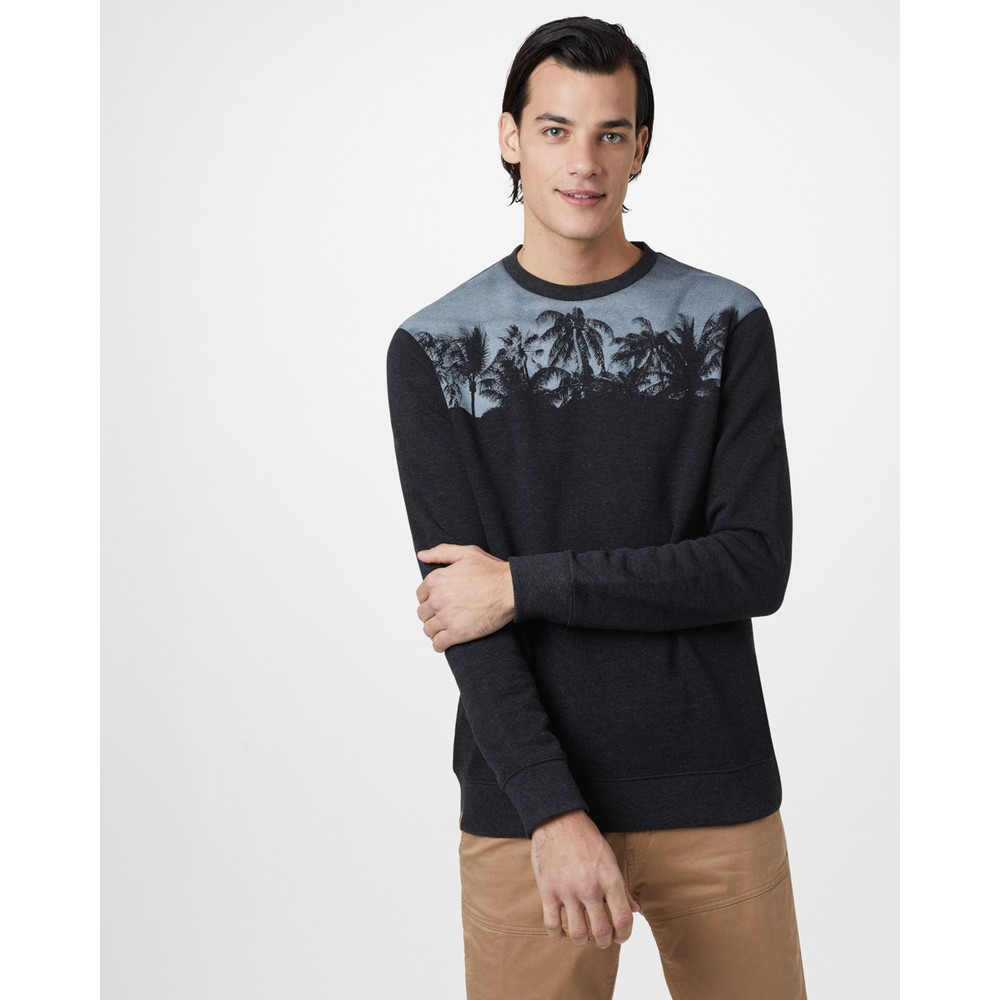 tentree Palm Classic Crew Mens Meteorite Black Heather