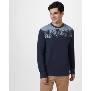 tentree Palm Classic Crew Mens in Dark Ocean Blue Heather
