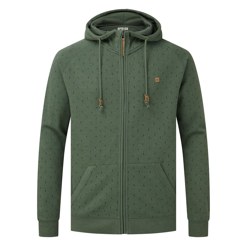 tentree Oberon Zip Hoodie Mens Forest Green Heather - Small Tree AOP
