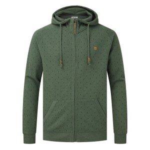 tentree Oberon Zip Hoodie Mens in Forest Green Heather - Small Tree AOP