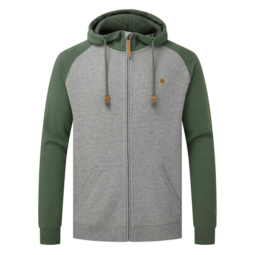 tentree Oberon Zip Hoodie Mens Hi Rise Grey Heather/ Forest Green Heather