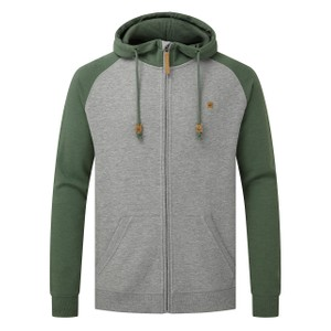 tentree Oberon Zip Hoodie Mens in Hi Rise Grey Heather/ Forest Green Heather