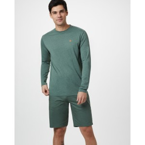tentree Classic Longsleeve Shirt Mens in Forest Green Heather