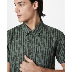 tentree Hemp Short Sleeve Button Up Mens in Forest Green - Tree Stripe AOP