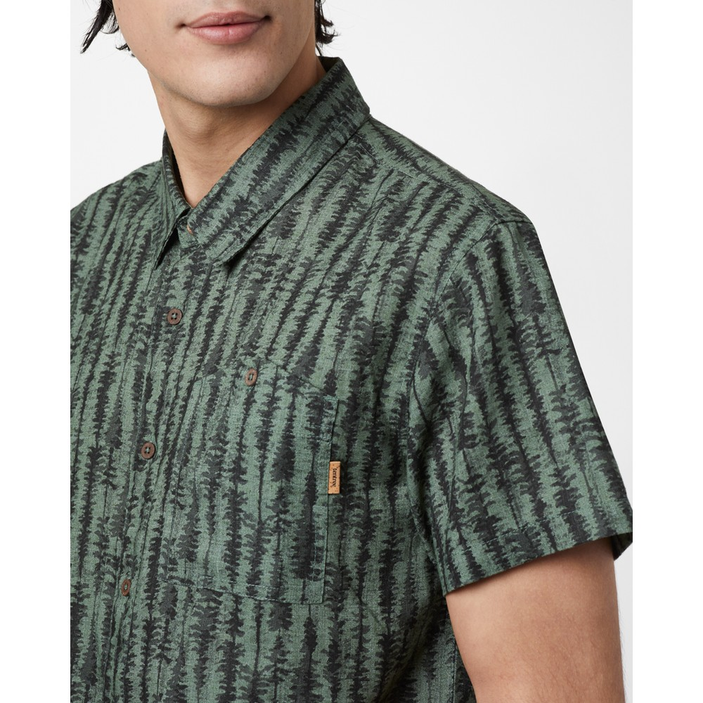 tentree Hemp Short Sleeve Button Up Mens Forest Green - Tree Stripe AOP