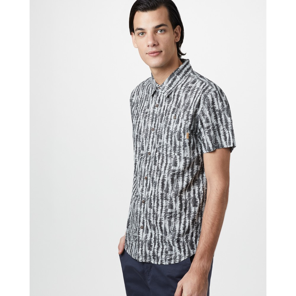 tentree Hemp Short Sleeve Button Up Mens Hi Rise Grey - Tree Stripe AOP