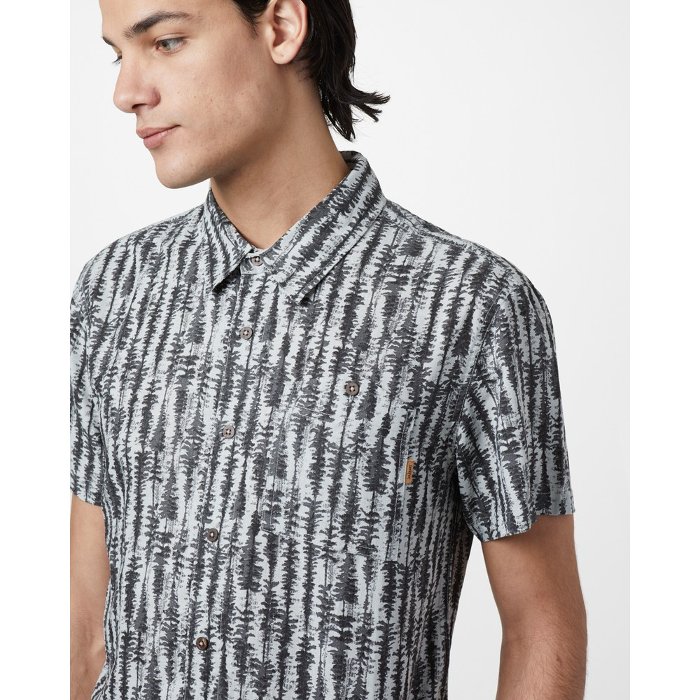 tentree Hemp Short Sleeve Button Up Mens Hi Rise Grey - Tree Stripe AOP