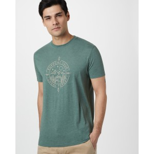 tentree Support Classic T-Shirt Mens in Forest Green Heather