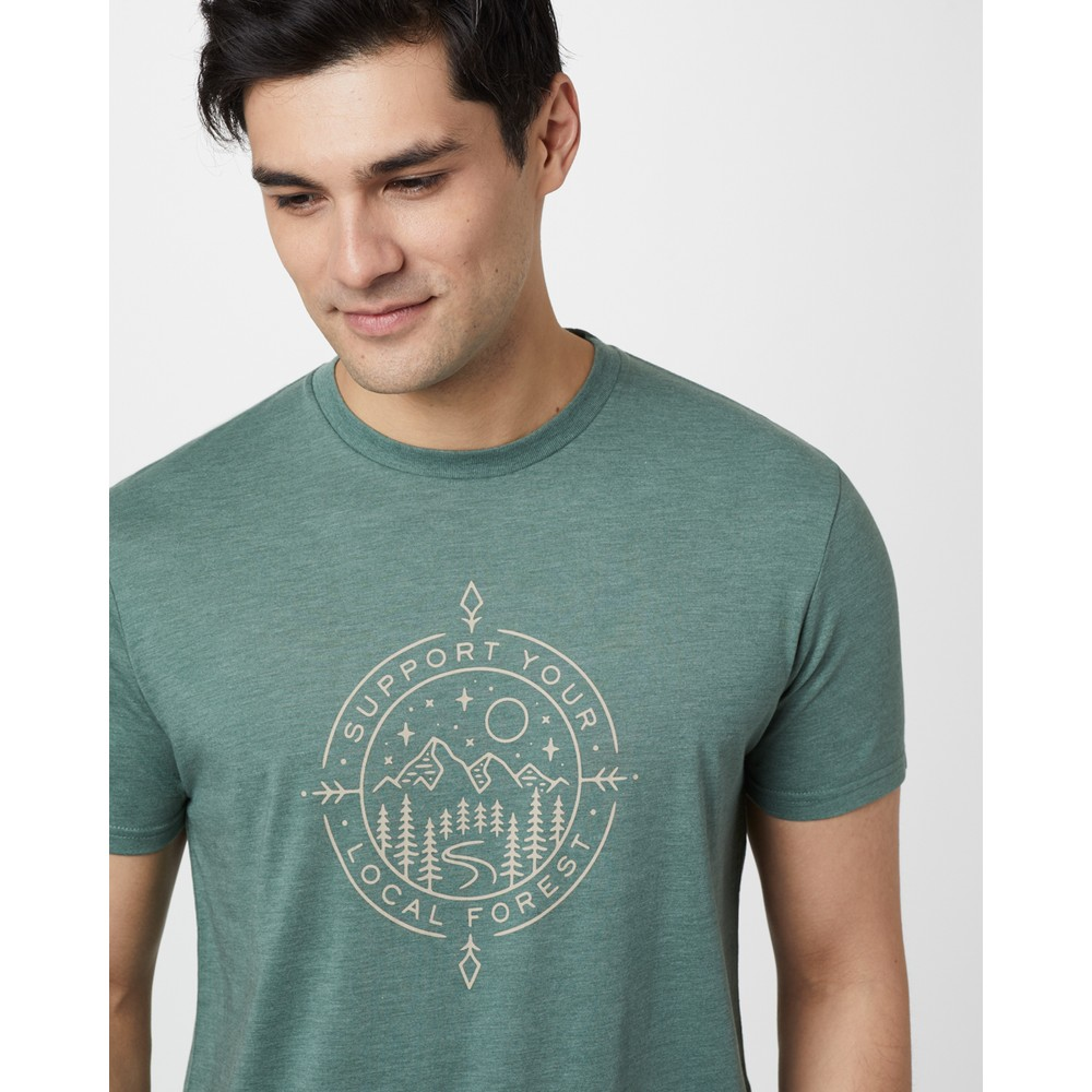 tentree Support Classic T-Shirt Mens Forest Green Heather