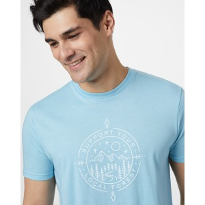 tentree Support Classic T-Shirt Mens in Glacier Blue Heather