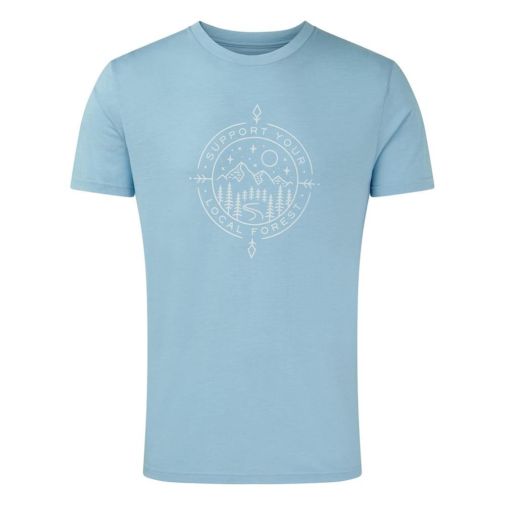 tentree Support Classic T-Shirt Mens Glacier Blue Heather