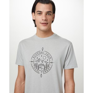tentree Support Classic T-Shirt Mens in Hi Rise Grey Heather