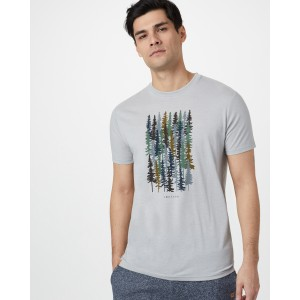 tentree Spruced Up Classic T-Shirt Mens in Hi Rise Grey Heather
