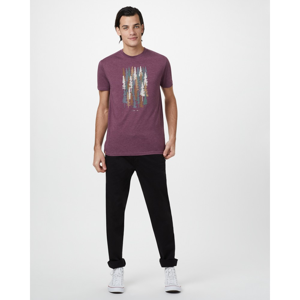 tentree Spruced Up Classic T-Shirt Mens Merlot Red Heather