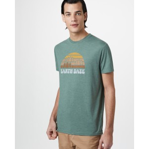 tentree Earth Daze Classic T-Shirt Mens in Forest Green Heather