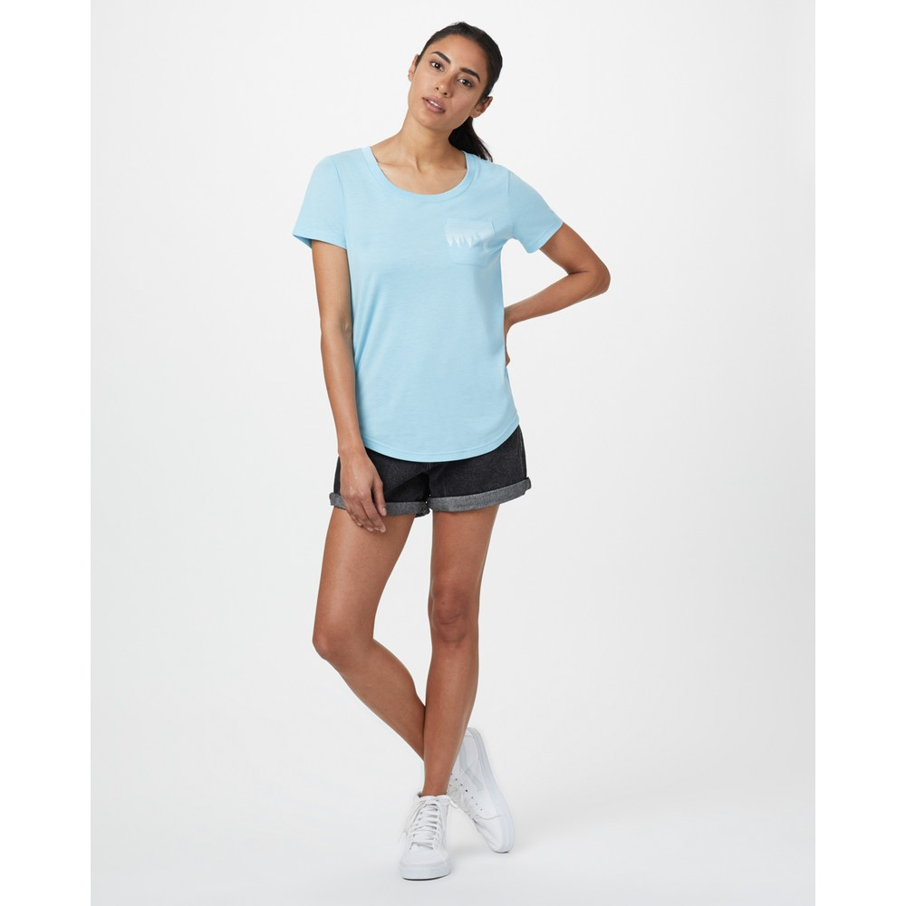 tentree Juniper Pocket T-Shirt Womens Glacier Blue Heather