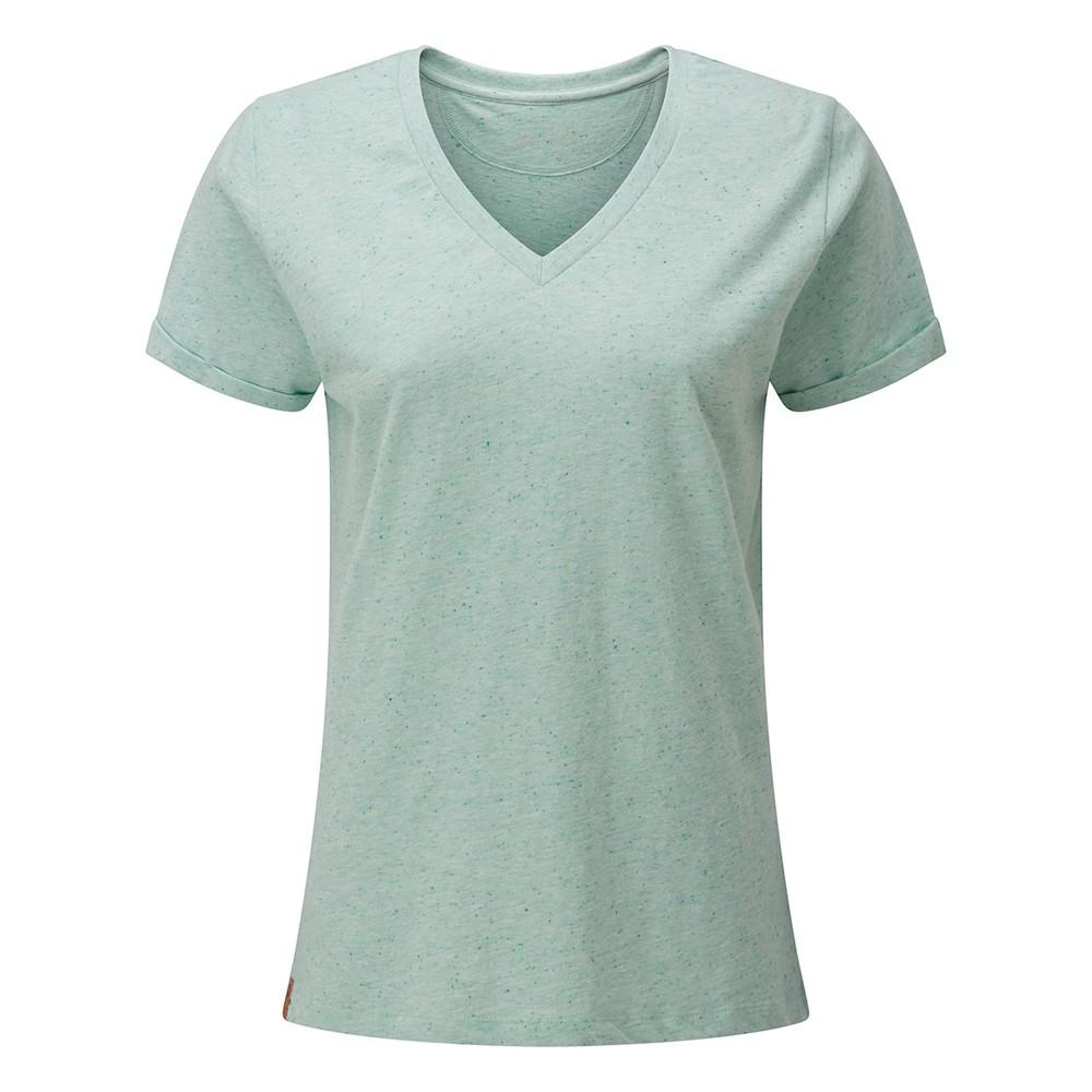 tentree Nahanni V-Neck T-Shirt Womens Morning Blue Snow Fleck