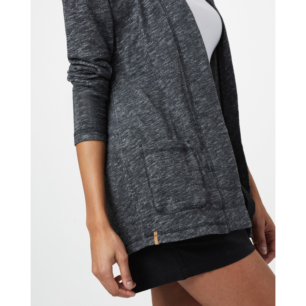 tentree Pocket Cardigan Womens Meteorite Black Marled