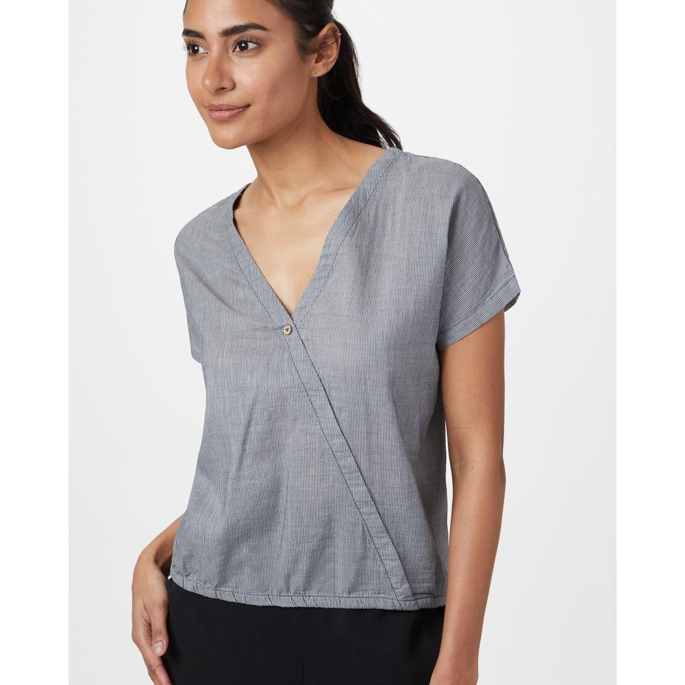 tentree Isa Woven Shirt Womens OC Stripe - Dark Ocean Blue/Elm White