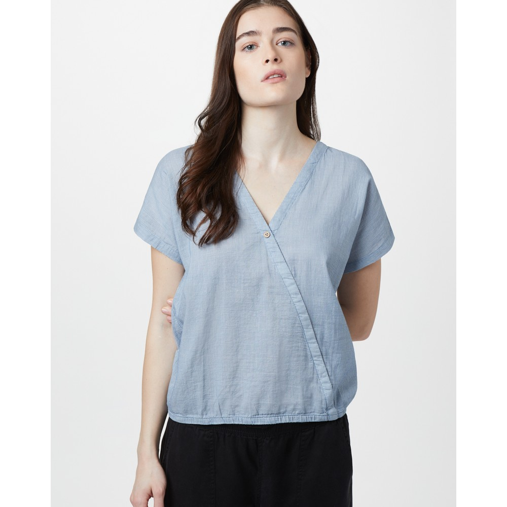 tentree Isa Woven Shirt Womens OC Stripe - Riviera Blue/Elm White