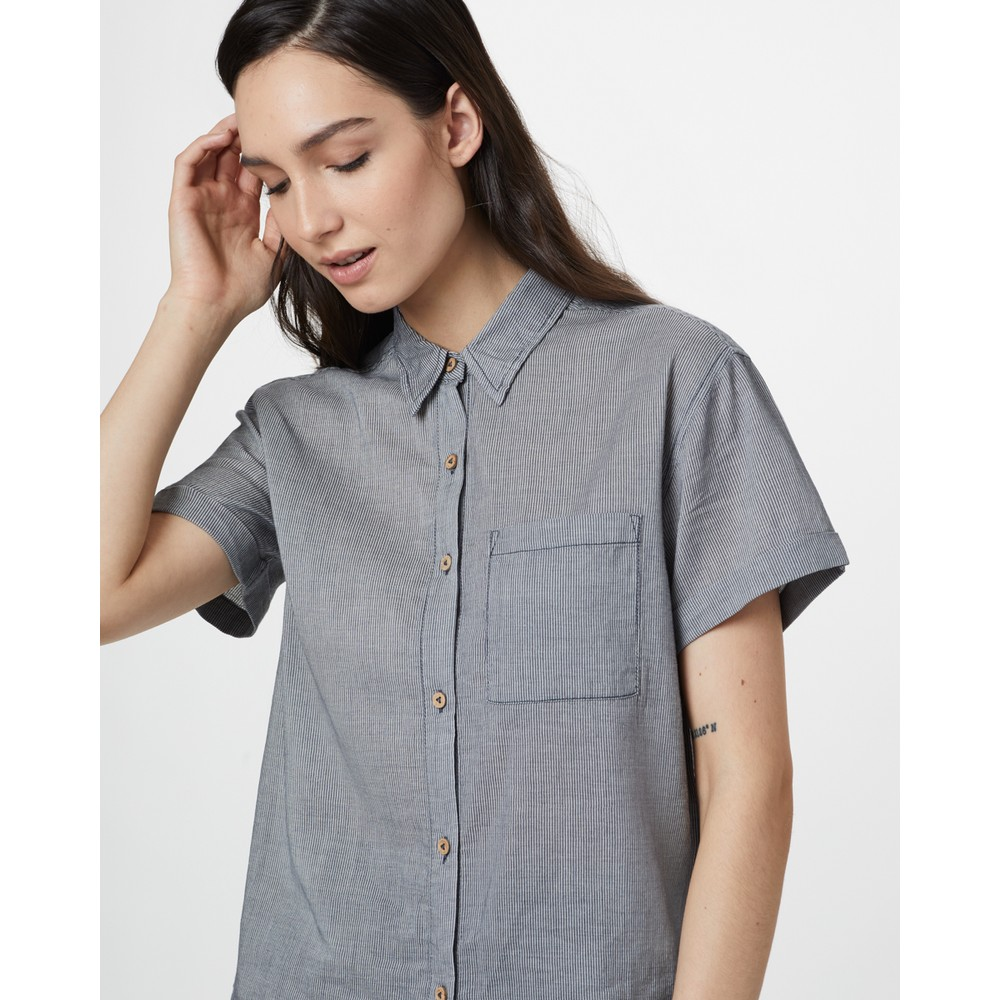 tentree Isa Woven Tunic Womens OC Stripe - Dark Ocean Blue/Elm White