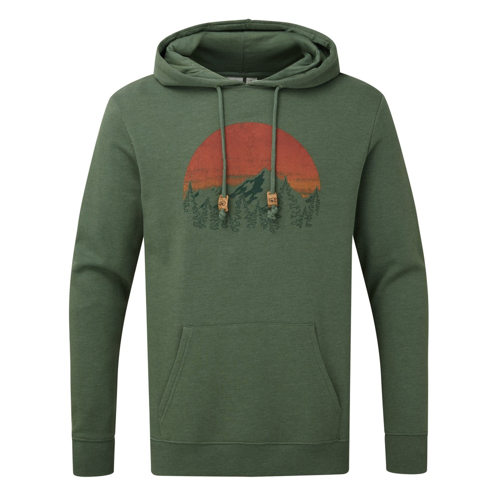tentree Vintage Sunset Classic Hoodie Mens Forest Green Heather