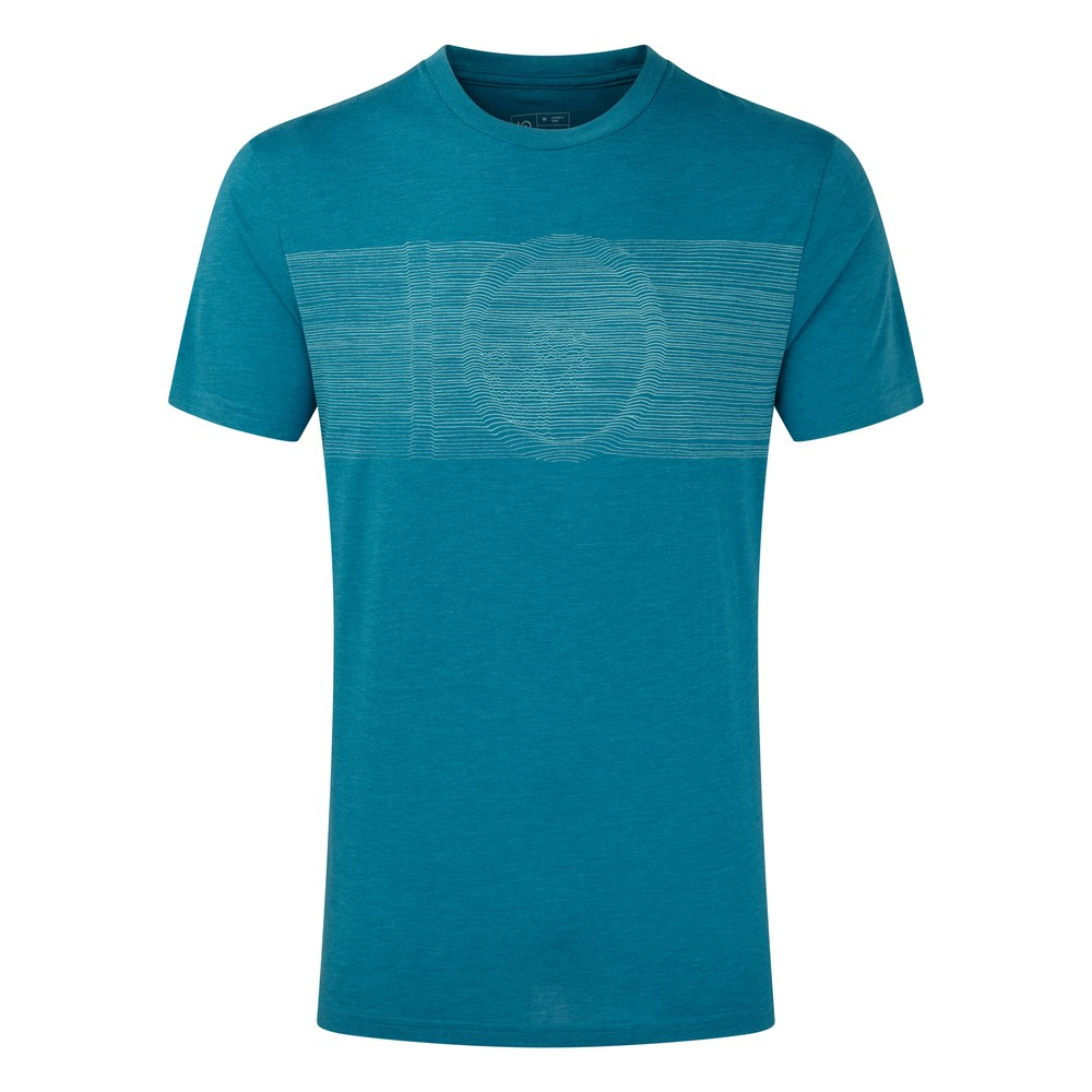 tentree Topographic Classic T-Shirt Mens Blue Lake Blue Heather